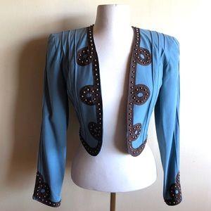 Double D Ranch blue embellished bolero jacket